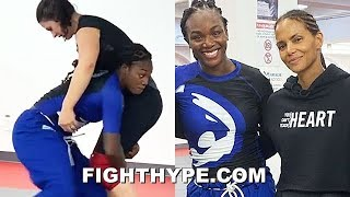 CLARESSA SHIELDS PERFECTING MMA SKILLS; DRILLING TAKEDOWNS ALONGSIDE HALLE BERRY WITH ADELINE GRAY Video