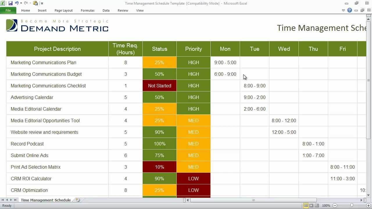 Time management schedule template youtube for Time management planner templates free
