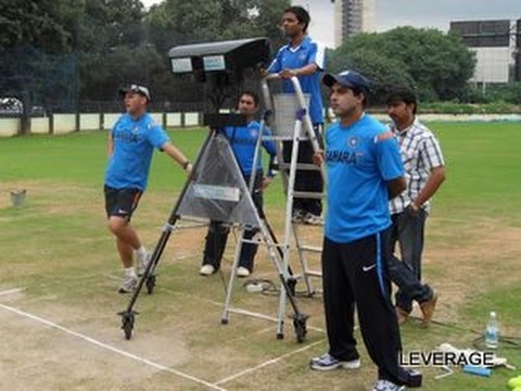 Bowling machine firing bouncers at team india
