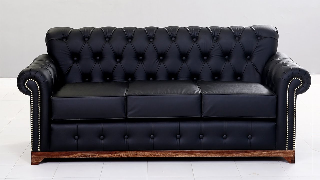 Chesterfield Sofa   Buy Jameson 3 Seater Leatherette Chesterfield Sofa  Online @ Wooden Street