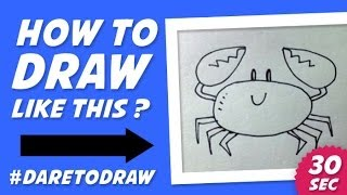 How to Draw a Crab in 30 Seconds - Cara Menggambar Kepiting