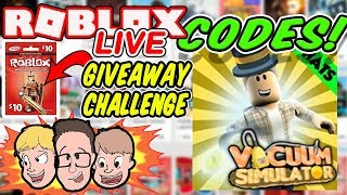 NEW VACUUM SIMULATOR CODES & ROBUX GIVEAWAY Live | Roblox Charity Livestream