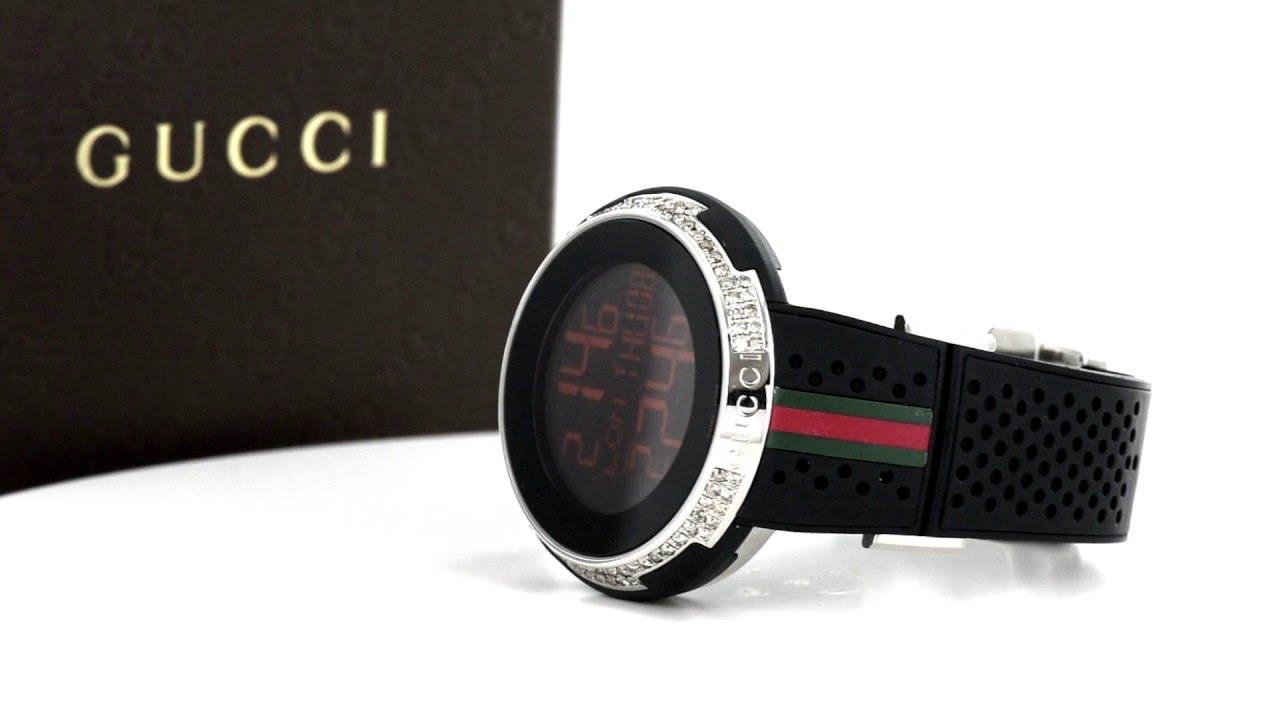 58e92623410 Mens Digital Black Face Gucci Rubber Strap 4CT White Diamond Watch ...