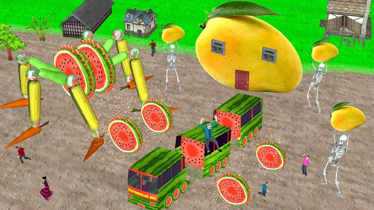 जादुई टूटा तरबूज बस Mango House Kahani सब्जी रोबोट 2 Magical Broken Bus हिंदी कहानियां 3D Naya Hindi