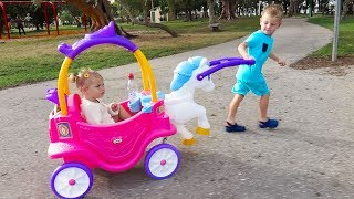 OUTDOOR ACTIVITY - Princess Horse and Carriage Little Tikes Cozy COUPE little girl and BROTHER