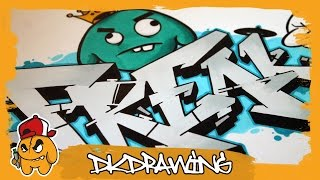 How to draw Freak Graffiti Letters & Graffiti Character (Graffiti Tutorial)
