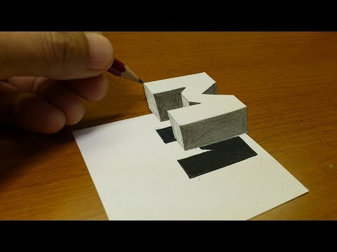 "Very Easy!! How To Drawing 3D Floating Letter ""M""  - Anamorphic Illusion - 3D Trick Art on paper"