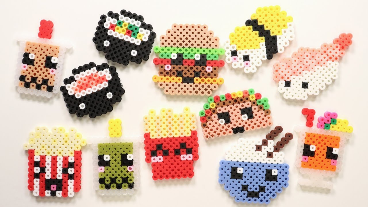 10 Easy Perler Bead Food Keychains and Magnets - YouTube