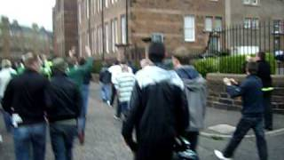 celtic fans at hibs 30/8/09 celtic fans leaving stadium