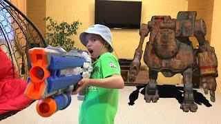 Нерф Против Огромного стреляющего робота