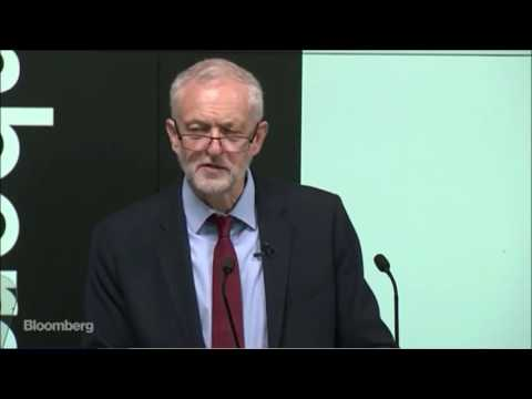 Jeremy Corbyn talks about his economic policies at Bloomberg