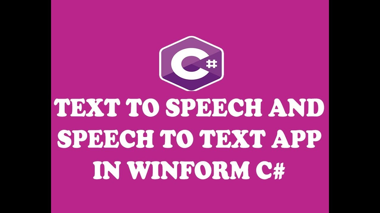 CREATING TEXT TO SPEECH AND SPEECH TO TEXT APPLICATION IN WINFORM C# (URDU  / HINDI)