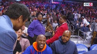 Floyd Mayweather Greets Manny Pacquiao After Meeting Face To Face During Clippers Game! thumbnail