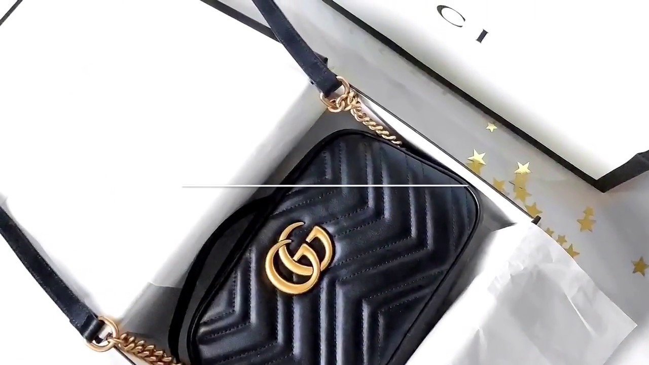 dca1dbabc027 Unboxing my first ever Gucci bag! GG Marmont small matelasse shoulder bag