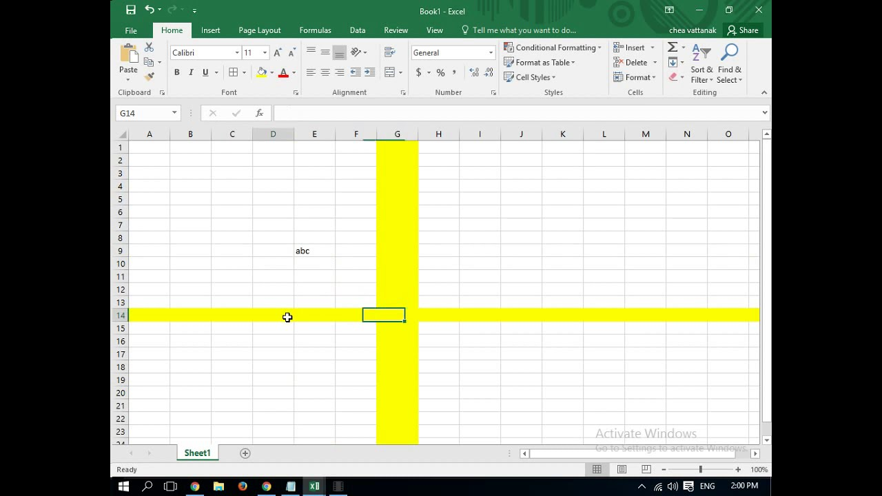 Highlight Selected Row Or Column In Excel Vba Clrl Z