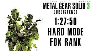 Metal Gear Solid 3 Subsistence Speedrun 1:27:50 Hard Mode Fox Rank