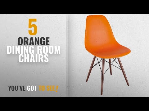 Top 10 Orange Dining Room Chairs [2018]: Poly and Bark Vortex Side Chair Walnut Legs, Orange
