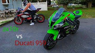 zx10r vs ducati 959 (TOP SPEED RUNS!!)