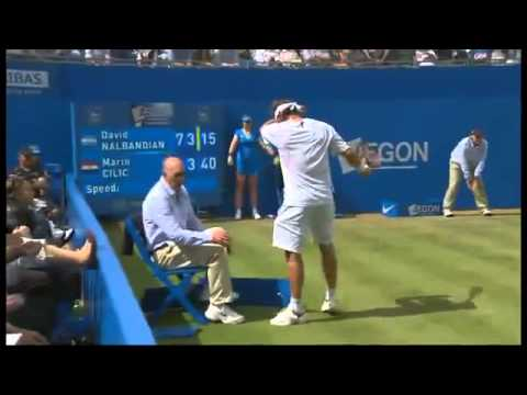 David Nalbandian attacks Linesman/Referee. Gets disqualified Tennis - Queens 2012 Final