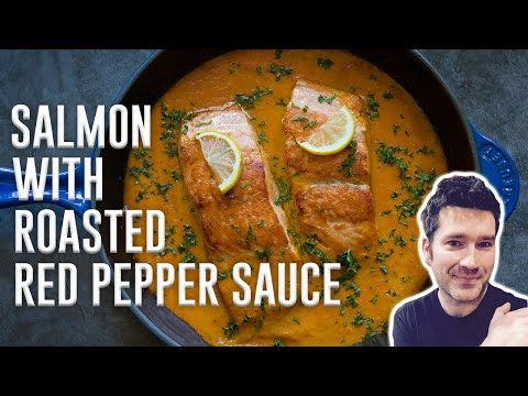 baked-salmon-with-roasted-red-pepper-sauce