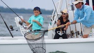 Fishing with the kids on Bass 2 Billfish. Grouper, Snapper, Peacock Bass and Largemouth