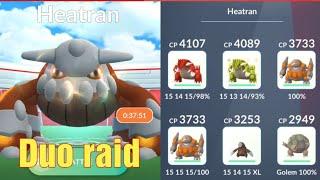 Pokémon go - Duo legendary Heatran Raid - No best friend boost - 2 players