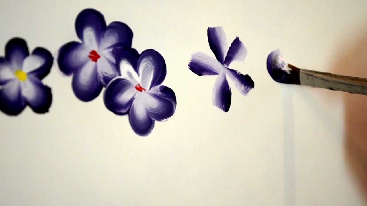 exceptional Easy Acrylic Painting Ideas Flowers Part - 16: paint easy 5 petal flowers - YouTube