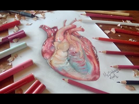 How to draw a hyper realistic heart-colored pencil tutorial