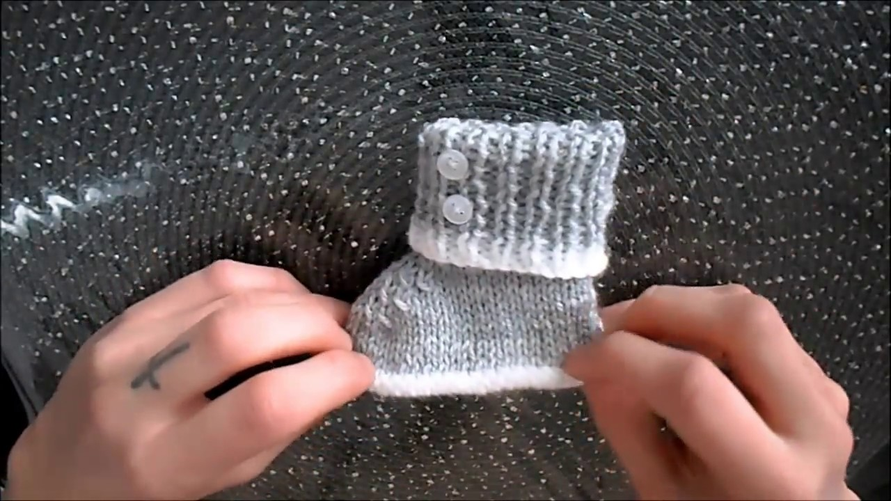 8aaee460ef7d9 Tuto tricot chausson bébé 0-3 mois - YouTube
