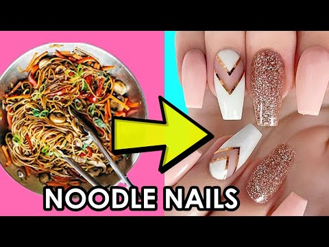 MAKING NAIL FROM NOODLE !!