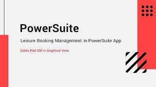 Sabre Booking Creation with PowerSuite App