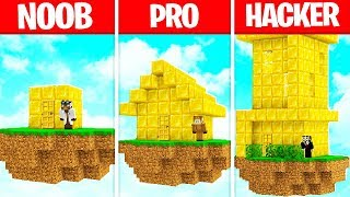 Minecraft Battle GOLD HOUSE BASE BUILD CHALLENGE in Minecraft! - NOOB vs PRO vs HACKER vs GOD
