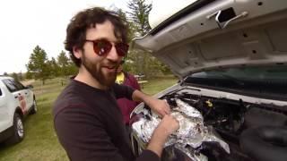 Test de cuisson de porc effiloché sur un moteur de voiture