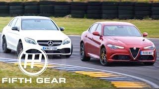 Fifth Gear Mercedes AMG C63 Vs Alfa Romeo Quadrifoglio Drift Test смотреть