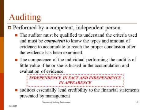 a definition of audit independence An independent auditor is a certified public or chartered accountant who examines the financial records of a company with which s/he isn't affiliated.