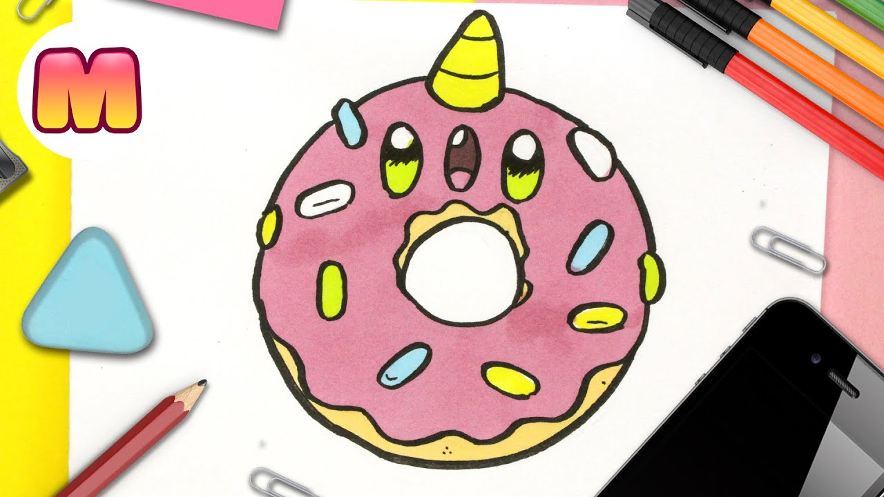 COMO DIBUJAR UN DONUT UNICORNIO 🍩 DONA KAWAII 🍩 Dibujos kawaii de comida 🍩 como dibujar kawaii