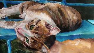 Speed Painting of cat - acrylic
