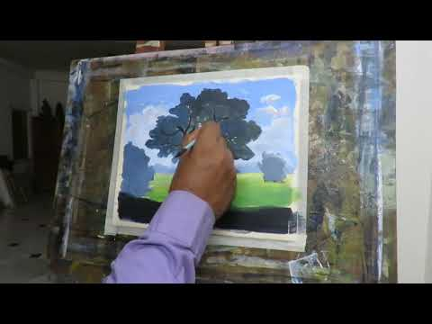 Acrylic landscape painting for beginners Full HD 1080p 1