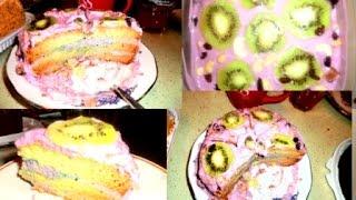 Простой рецепт вкуснейшего праздничного торта/Бисквитный торт пошагово/Новогодний рецепт торта