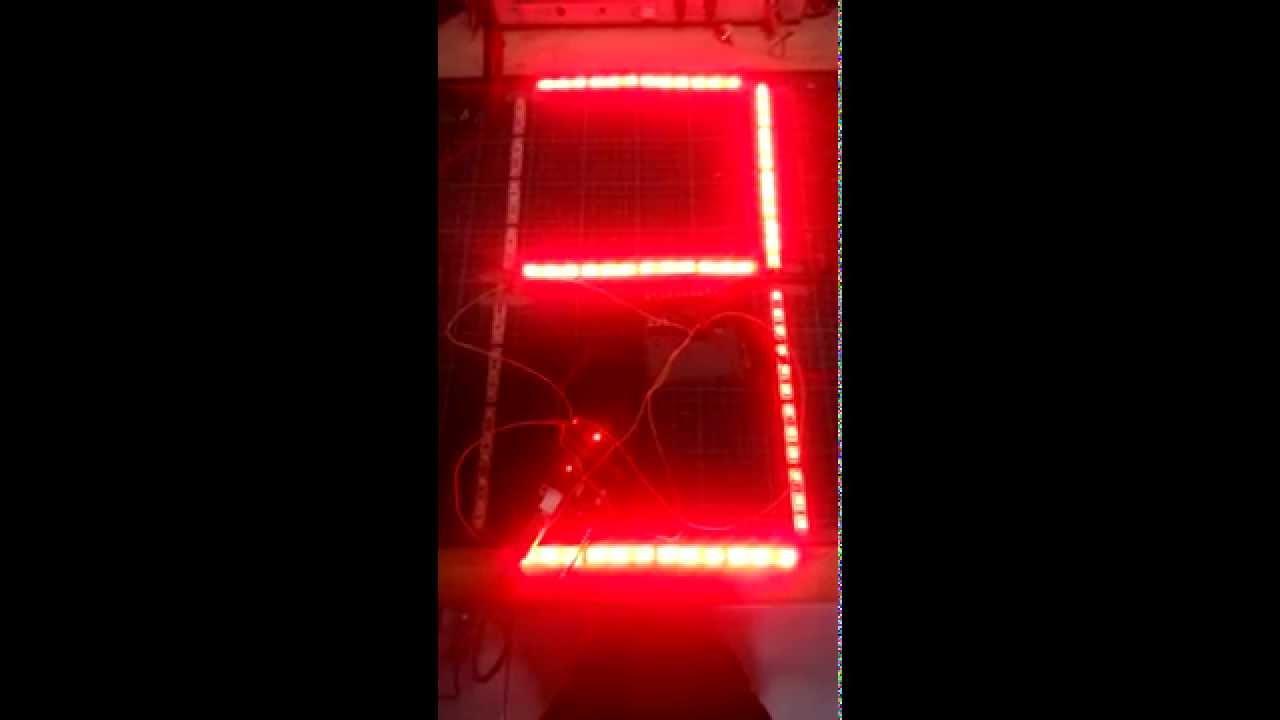 led strip large 7 segment test youtube. Black Bedroom Furniture Sets. Home Design Ideas