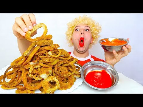 GIANT MOUNTAIN OF ONION RINGS • Mukbang & Recipe