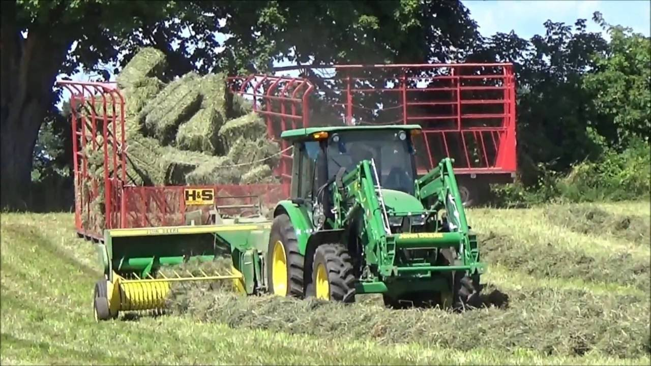 Making Small Square Bales! With A John Deere 5085M & John Deere 328 Baler