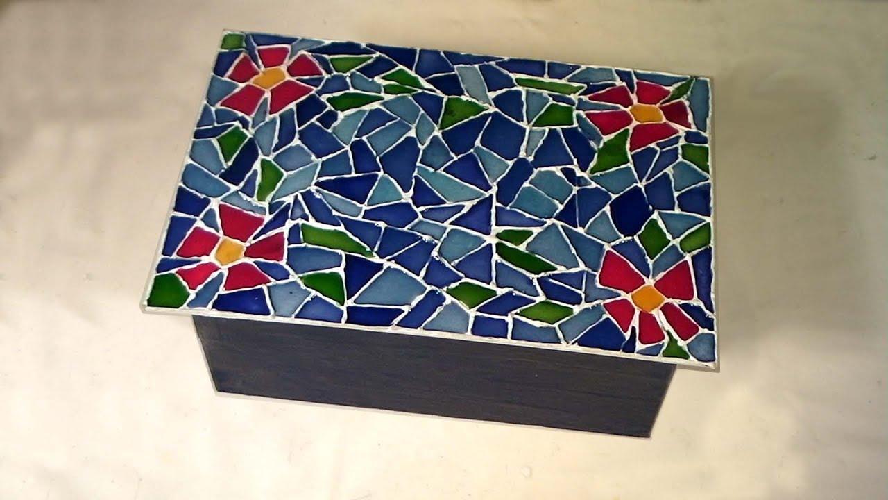 Caixa organizadora reciclada Parte 2 Falso mosaico (Recycled box  #821029 1920x1080