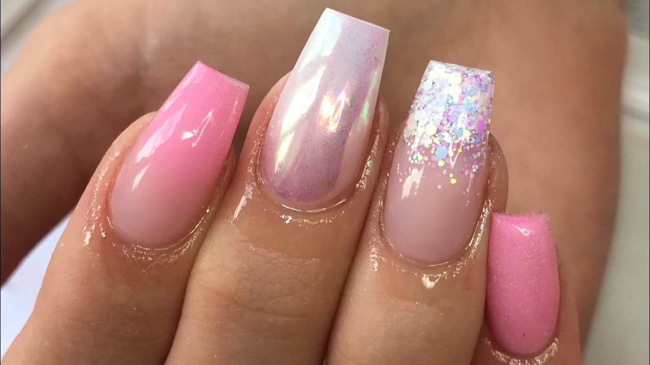 GLITTER & PINK | ACRYLIC NAILS | TAPERED SQUARE - YouTube