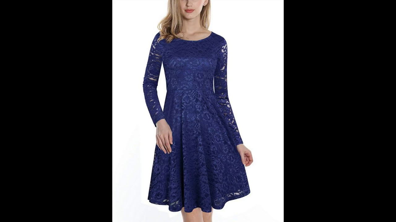 9200f519e1eeb VALOLIA Women's Vintage Floral Lace Long Sleeve Round Neck A-line Cocktail  Party Midi Dress
