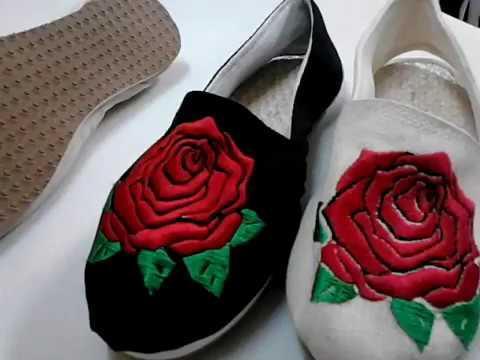 Calzado Cotizas Alpargatas Rosa Bordadas