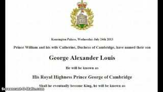 Prince George Alexander Louis & 13th Star of David Alignment July22-29th!