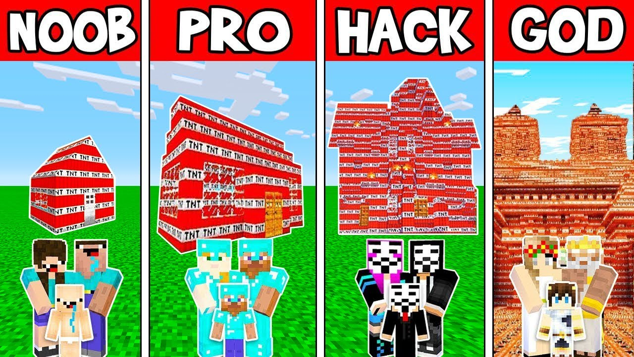 Minecraft: FAMILY TNT HOUSE BUILD CHALLENGE - NOOB vs PRO vs HACKER vs GOD in Minecraft
