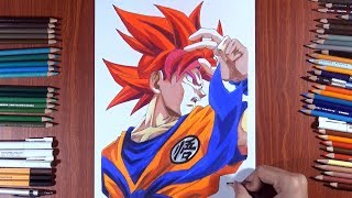 Drawing of goku ssj god ( super saiyan god ) | Vh art