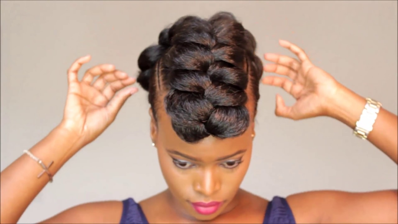 braided mohawk protective style updo